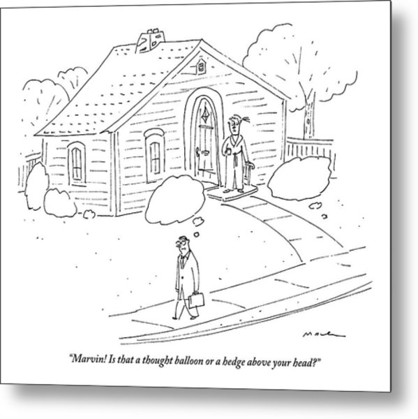 A Woman At The Front Door Calls To Her Husband Metal Print