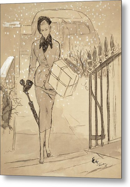 A Woman Carrying A Gift In The Snow Wearing Metal Print by Carl Oscar August Erickson