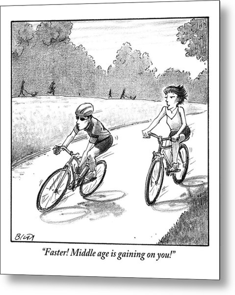 A Woman Casually Riding A Bicycle Addresses A Man Metal Print