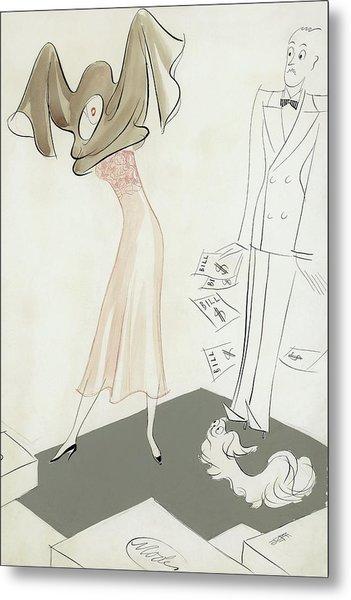 A Woman Hiding From Bills Metal Print by Eduardo Garcia Benito