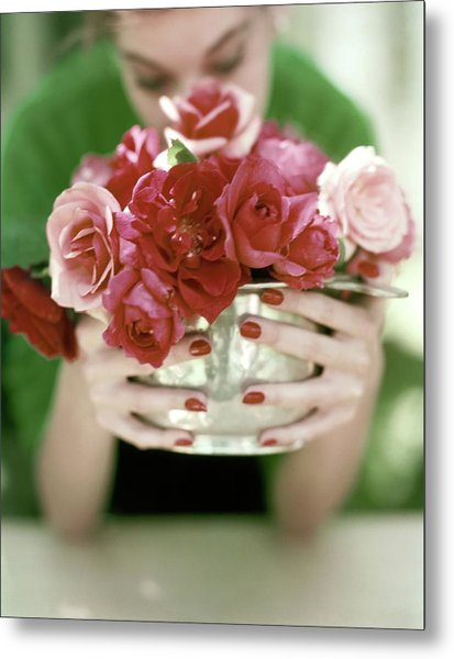 A Woman Holding A Bowl Of Roses Metal Print by John Rawlings