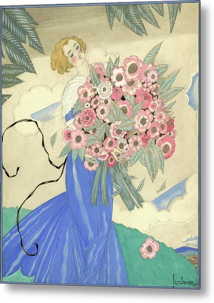 A Woman In A Blue Dress Holding A Bouquet Metal Print