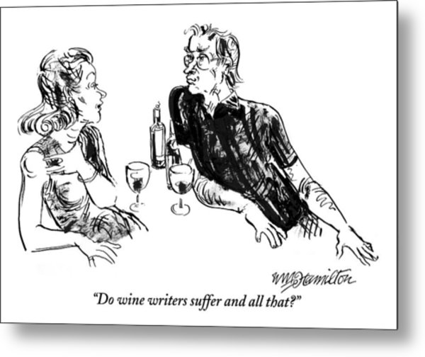 A Woman Is Seen Speaking With A Man As They Drink Metal Print