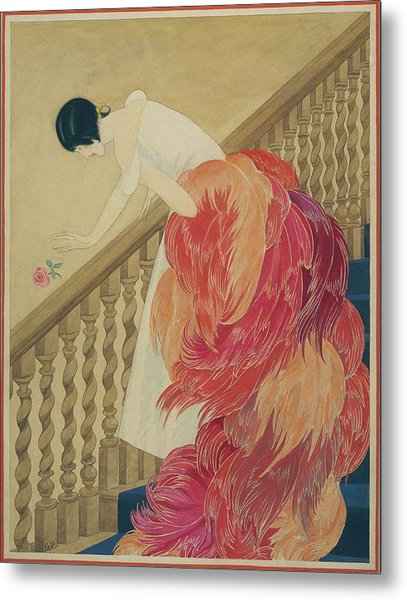 A Woman On A Staircase Metal Print