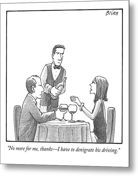 A Woman Sitting With Her Husband At A Restaurant Metal Print