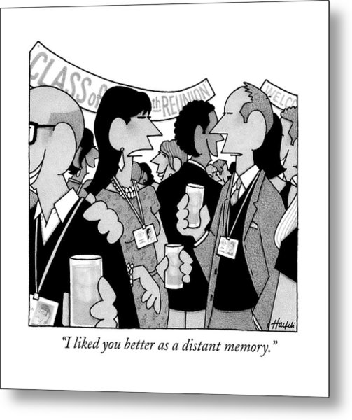 A Woman Speaks To A Man At A Class Reunion Metal Print