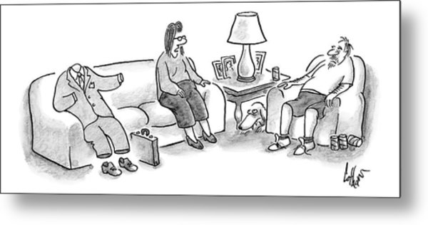 A Woman Speaks To Her Husband Who Is Sitting Metal Print