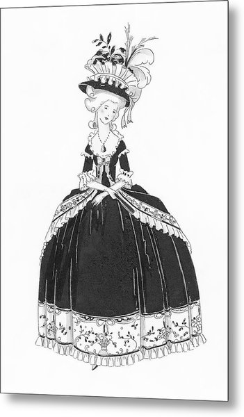 A Woman Styled Like Marie Antoinette Metal Print by Claire Avery