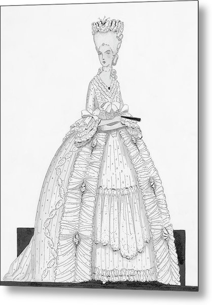A Woman Wearing A Dress From 1790 Metal Print by Claire Avery