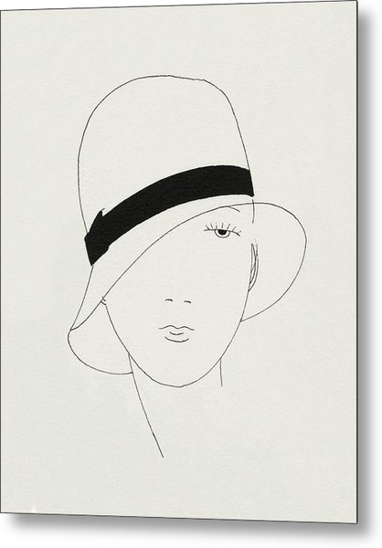 A Woman Wearing A Hat Metal Print