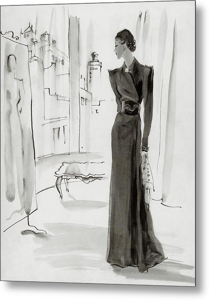 A Woman Wearing A House-coat Metal Print by Rene Bouet-Willaumez