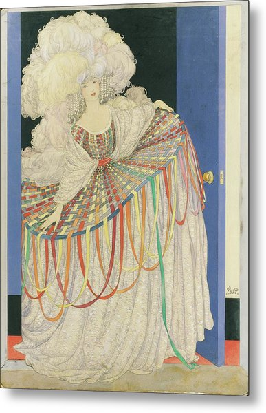 A Woman Wearing A Multicolored Pannier Dress Metal Print by George Wolfe Plank