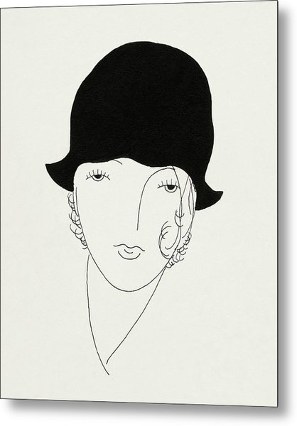 A Woman Wearing A Poorly Fitted Hat Metal Print