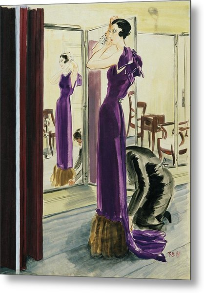 A Woman Wearing A Purple Augustabernard Evening Metal Print
