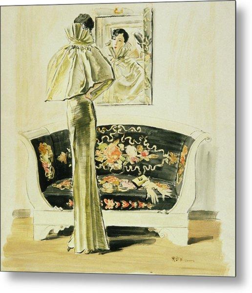 A Woman Wearing A Schiaparelli Evening Gown Metal Print