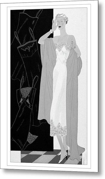 A Woman Wearing A Slip Metal Print
