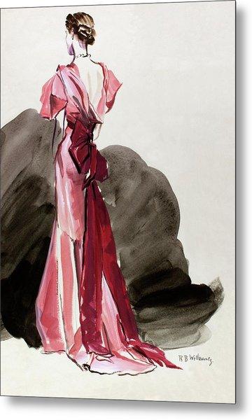 A Woman Wearing A Vionnet Dress Metal Print by Rene Bouet-Willaumez