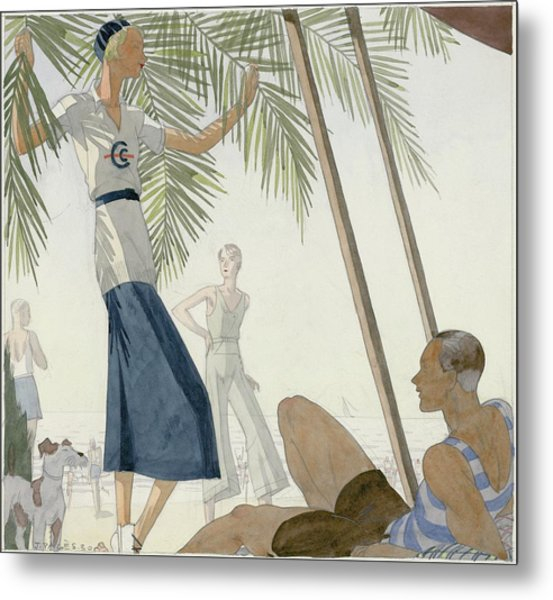 A Woman Wearing Patou Clothing At The Beach Metal Print by Jean Pages