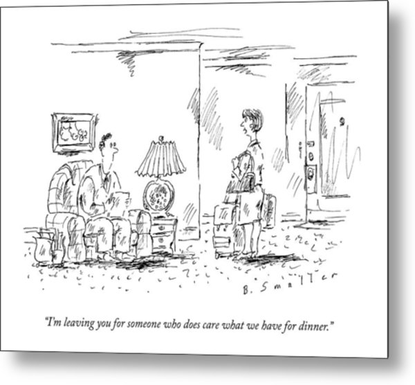 A Woman With Luggage Confronts Her Husband Metal Print