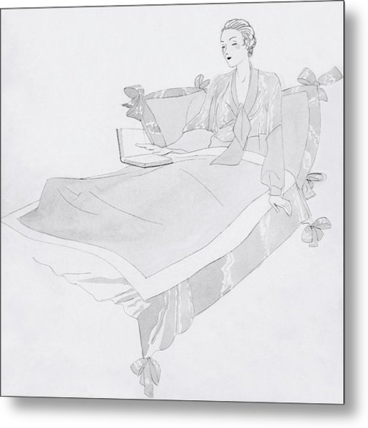 A Women Sitting In Bed With A Book Metal Print