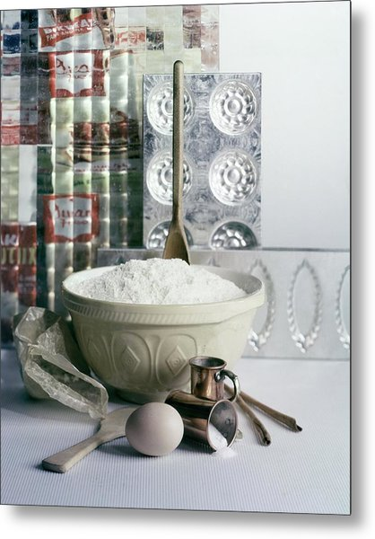 A Wooden Spoon In A Bowl Of Flour Metal Print