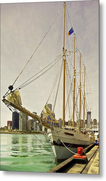 A Yacht Moored At Navy Pier Metal Print