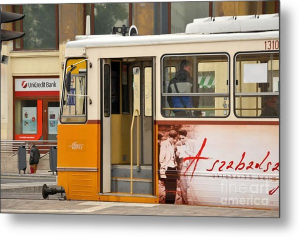 A Yellow Tram On The Streets Of Budapest Hungary Metal Print