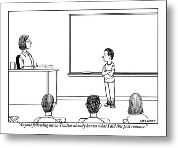 A Young Boy Presents In Front Of His Teacher Metal Print
