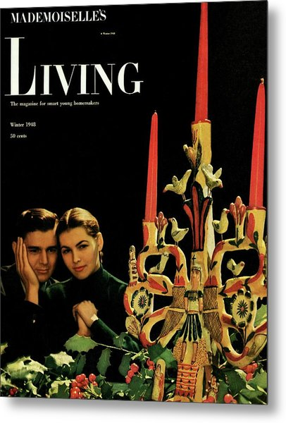 A Young Couple Next To A Candelabra Metal Print