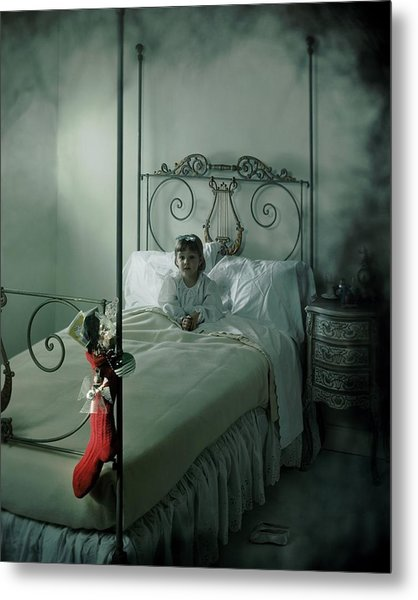 A Young Girl Lying On A Bed Metal Print