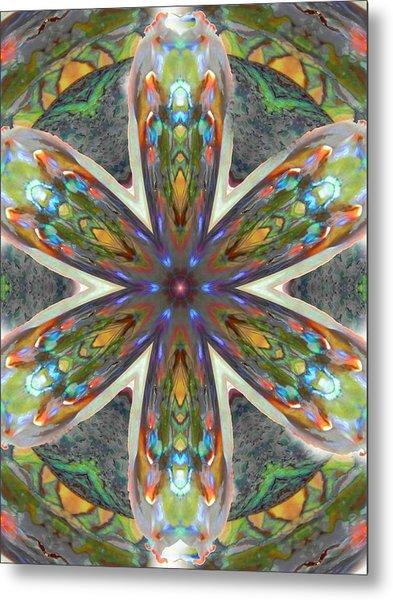 Abalone Christ Mandala Metal Print