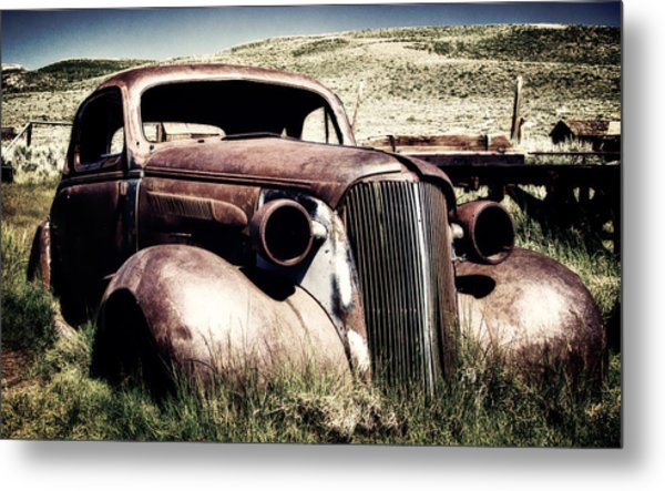 Abandoned Car Hull Metal Print
