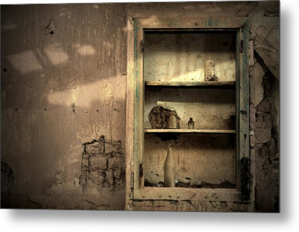 Abandoned Kitchen Cabinet Metal Print