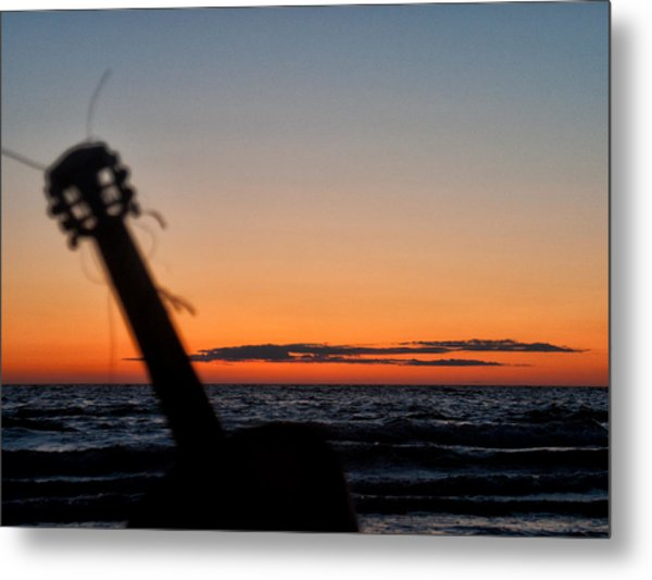 Acoustic Guitar On The Beach Metal Print