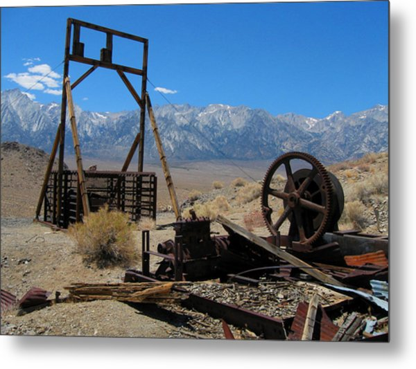 Abandoned Mine With View Of Eastern Sierras Metal Print
