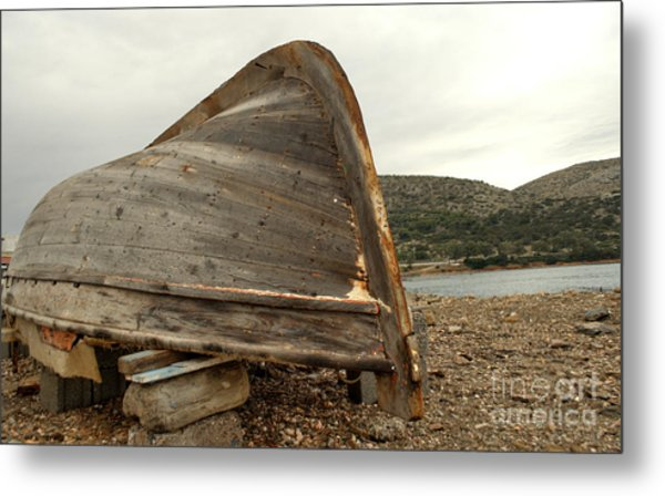 Abandoned Nafplio Fishing Boat Metal Print