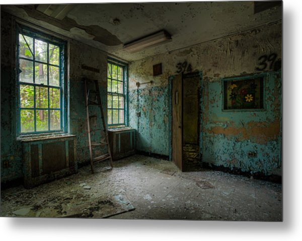 Abandoned Places - Asylum - Old Windows - Waiting Room Metal Print