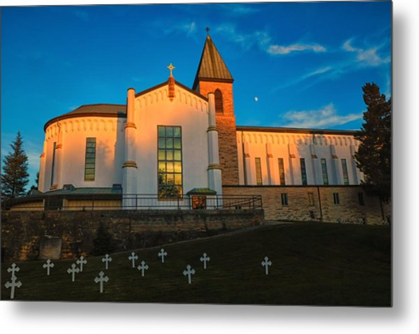 Abbey Of Gethsemene Golden Hour Metal Print