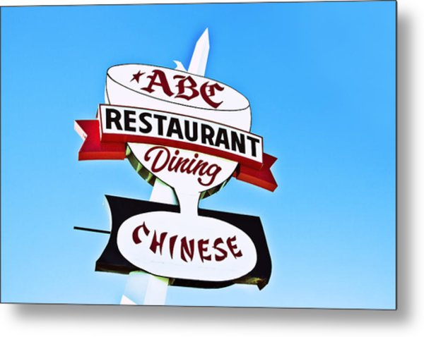 Abc Restaurant Vintage Neon Sign Metal Print