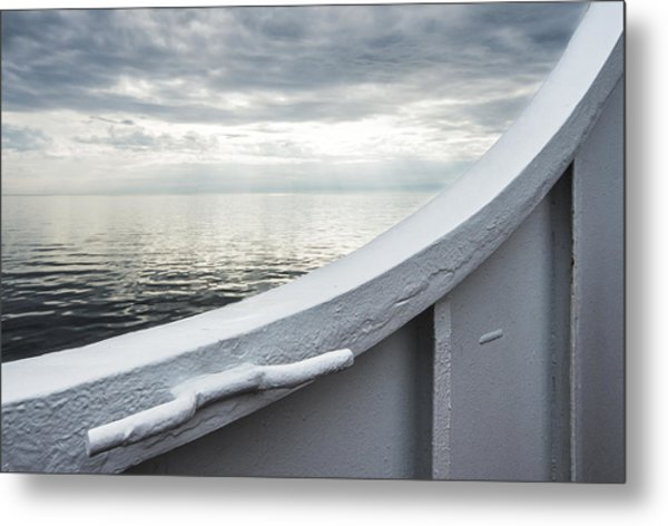 Aboard The Ferry Metal Print
