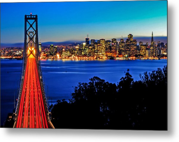 Above The Bay Bridge And San Francisco Skyline Metal Print