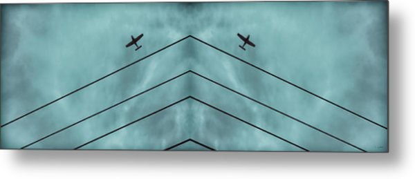 Above The Lines Blue Panorama Metal Print by Tony Grider
