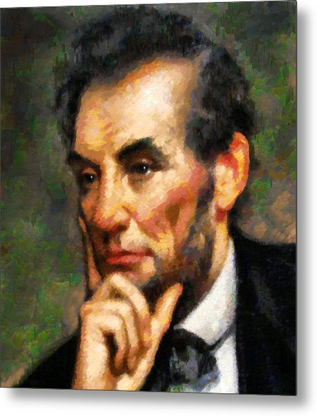 Abraham Lincoln - Abstract Realism Metal Print