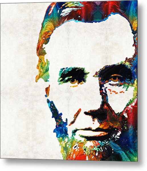 Abraham Lincoln Art - Colorful Abe - By Sharon Cummings Metal Print
