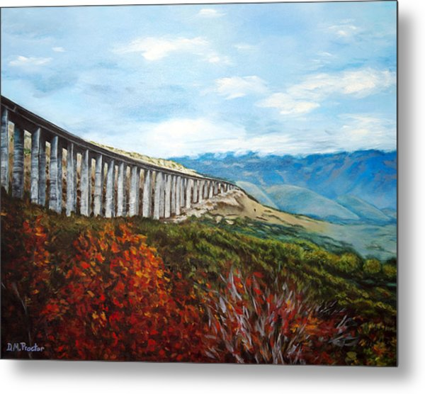 Metal Print featuring the painting Abruzzo Italian Countryside  by Donna Proctor