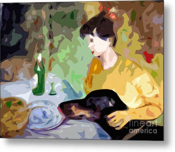 Abstact Dinner Self Portrait With Doberman Dog Metal Print