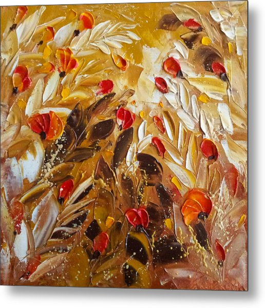 Abstact Red Flower Painting On Caramel By Ekaterina Chernova Metal Print