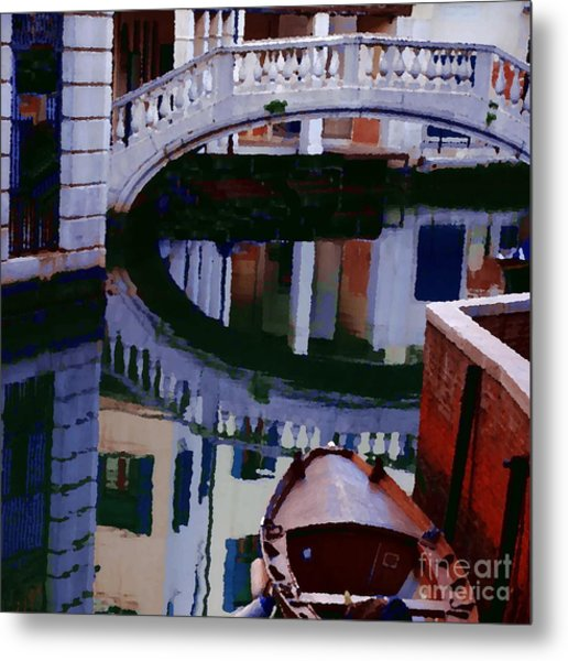 Abstract - Venice Bridge Reflection Metal Print by Jacqueline M Lewis
