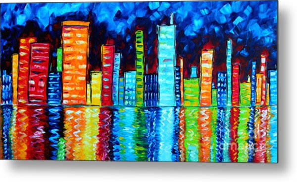 Abstract Art Landscape City Cityscape Textured Painting City Nights II By Madart Metal Print