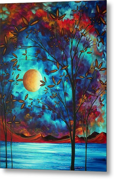 Abstract Art Landscape Tree Blossoms Sea Moon Painting Visionary Delight By Madart Metal Print